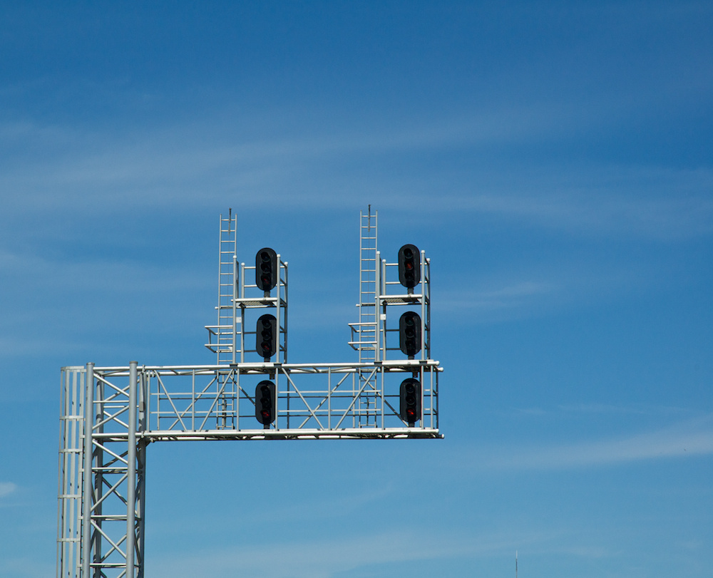 Blue sky signal bridge